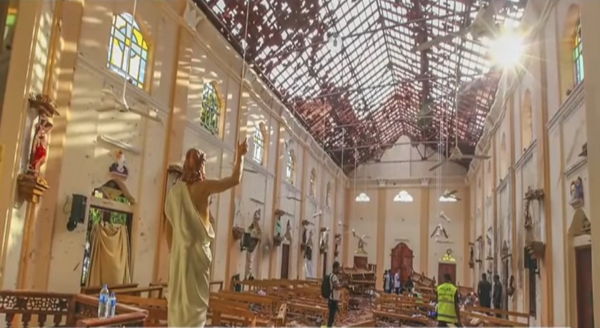 Aftermath of a church devastated by an explosion in Sri Lanka credit Fox News