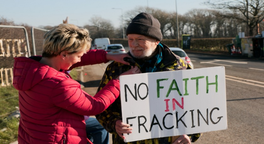 Daleen Ten Cate and a fellow protestor at the Preston New Road fracking site credit Kevin Snyman