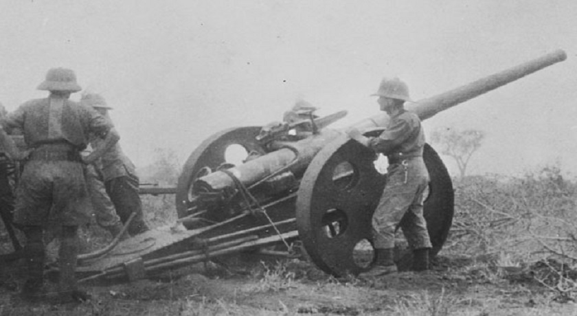 WW1 Soldiers in east Africa QF 12 pounder 18 cwt East Africa WWI wikicommons